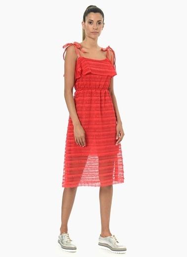Que Kare Yaka Elbise Kırmızı